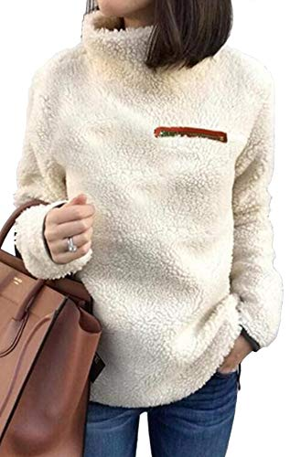 (KISSMODA Womens Pullover Sweater Plus Size High Neck Casual Tunic Tops Sweatshirt XL White)