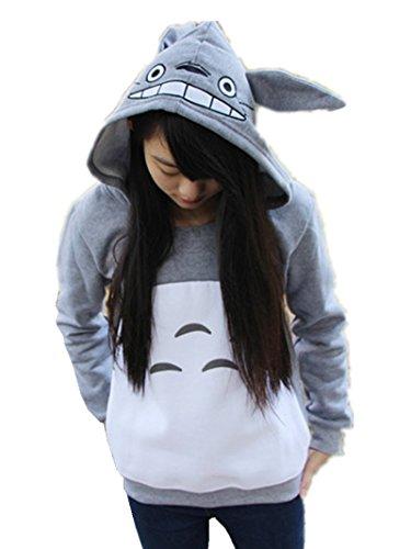 Sorrica Cartoon Anime Totoro Casual Hoody Sweatshirt for Teens (XL, Grey)]()