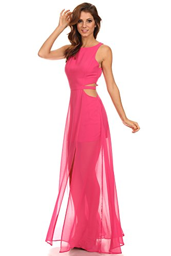 MeshMe Womens Fada - Hot Neon Pink Highlighter Vintage Classic 80s Style Semi Sheer Chiffon Bateau Maxi Dress With Cut Out Sides 80's Retro Rollerskate Disco Princess Dance Party Dancing - Style Classic 80s