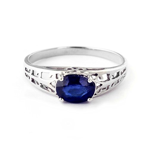 (14k Solid White Gold Filigree Ring with 1.15 Carat (CTW) Natural Blue Sapphire-2394 (7))