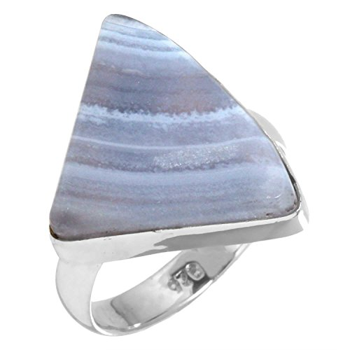 Agate Blue Agate Ring (Solid 925 Sterling Silver Collectible Jewelry Natural Blue Lace Agate Gemstone Ring Size 6)