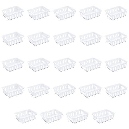 Sterilite 16058024 Mini Storage Tray, White, 24-Pack