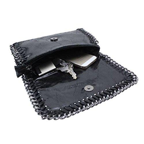 FERETI cuir chaîne main à pour Pochette bandoulière sac Noir femme rqFw6IxqO