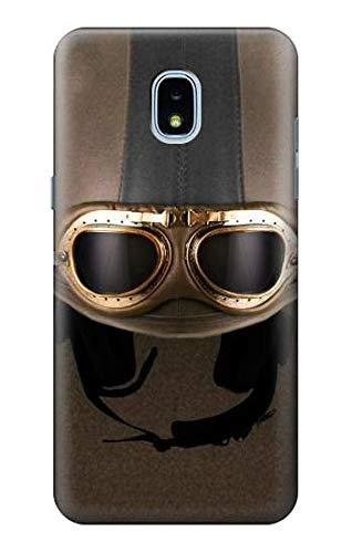R2645 Vintage Brown Goggles Motorcycle Helmet Case Cover for Samsung Galaxy J3 (2018), J3 Star, J3 V 3rd Gen, J3 Orbit, J3 Achieve, Express Prime 3, Amp Prime 3