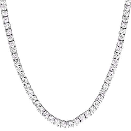 "MASTER OF BLING 1 Row Tennis Necklace 24"" Solitaire Lab Diamonds 14k White Gold Finish 3MM Unisex"