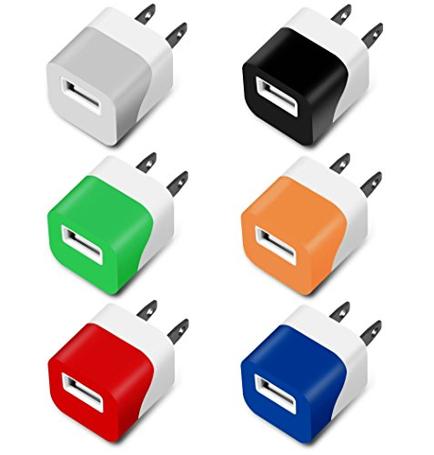 Charger, 5W 1A Certified Mini USB Universal Matte Portable Travel Power Adapter High Speed 1.0A Output for Apple iPhone Samsung HTC LG iPod Nokia (Colorful-6 Pack)