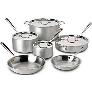 All-Clad 700508 MC2 Professional Master Chef 2 Stainless Steel Bi-Ply Bonded Oven Safe PFOA Free Cookware Set, 10-Piece, Silver