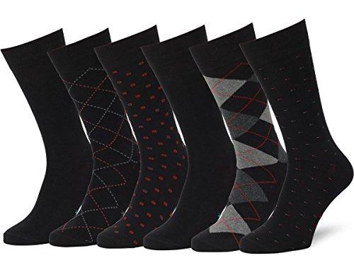 Easton Marlowe Men's Classic Subtle Pattern Dress Socks - 6pk #4-2, Black - 43-46 EU shoe size (Best Quality Mens Socks)