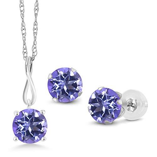 Gem Stone King 3.00 Ct Round Blue Mystic Topaz 10K White Gold Pendant Earrings Set With Chain ()