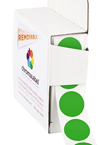 ChromaLabel 3/4 inch Removable Color-Code Dot Labels   1,000/Dispenser Box (Green)