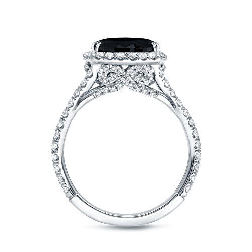 18k White Gold Cushion-cut Black Diamond Halo Engagement Ring (3 1/3 cttw, Black G-H, VS1-VS2)5.5-7.5