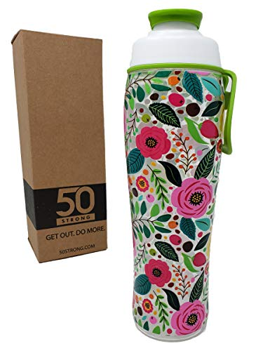 BPA Free Gym Water Bottle with Ice Guard Flip Top Cap & Carry Loop - Cute Designer Prints - Perfect for Men, Women, Sports & Workout - 24 oz. - -