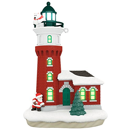 Hallmark Keepsake 2017 Santa and Polar Bear Holiday Lighthouse Dated Christmas Ornament With Light