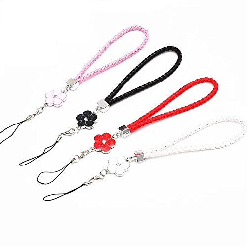 4 Pack Braided PU Hand Wrist Straps Leather Wrist Lanyard with Flower Pendant Keychain Strap for Keys & MP3 MP4 Player& Cell Phone & ID Tag Badge -Black/White/Pink/Red by L&F Home