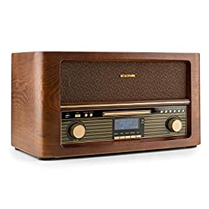 AUNA Belle Epoque 1906 - Equipo estéreo , Minicadena Retro , Dab+ , Radio Digital , Bluetooth , Reproductor de CD , MP3 , USB , RDS , Digitalizador , ...