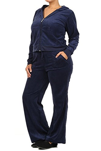 2 Piece PLUS SIZE Womens Velour set Hoodie winter Track Suit WITH LACE ON TOP (1X, navy blue)