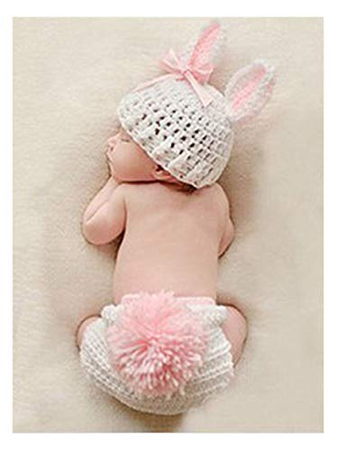 Aukmla Newborn Boy Girls Crochet Knitted Baby Outfits Costume Set Photography Photo Prop Baby Shower (Pink Bunny)