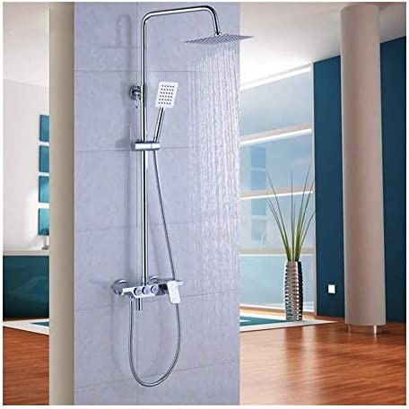 WXQ-XQ 手には雨水浴室蛇口セットスクエアステンレストップスプレーと壁面マウント開催ハンドシャワーセット、8インチ耐久性(カラー:シルバー)