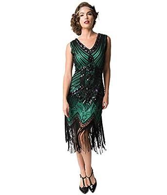 Unique Vintage 1920s Deco Green & Black Sequin Veronique Fringe Flapper Dress