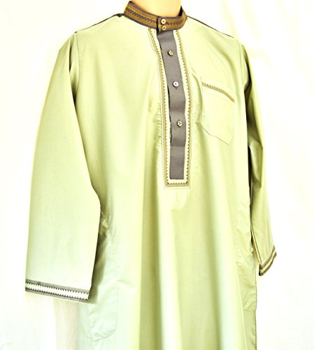 2 Piece 2 Tones Enique Arab Long Top Dress Islam Thobe Trouser Pants Jubba Shirt (60, Green Emrald)