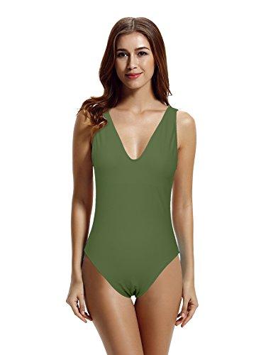 zeraca Women's Plus Size Deep V High Cut One Piece Swimsuit Bathing Suits (XL18, Olive)