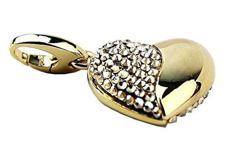 JUDITH LEIBER Amour Heart Charm 24K Gold Plated Silver