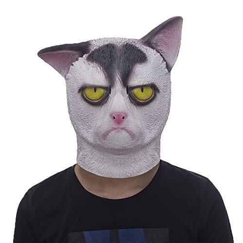 molezu Grumpy Cat Mask, Cat Halloween Mask, Novelty Costume Party Latex Cat Head Mask