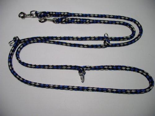 Hundeleine Doppelleine 2,80m 4fach verstellbar schwarz-blau-grau