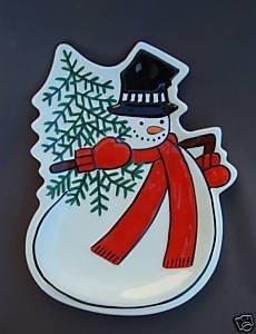 Fitz & Floyd Holly Jolly Snowman Canape Plate ()