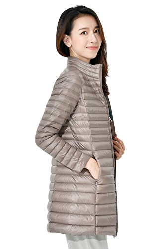 Packable Available Womens Colours Down 8 Collar Santimon Stand Jacket Mid Lebgth Warm Khaki Lightweight Down Coat nTYqaqSRw