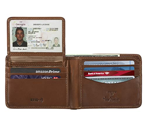 Mens RFID Blocking Bifold Wallet Removable Card Case ID Holder Italian Leather