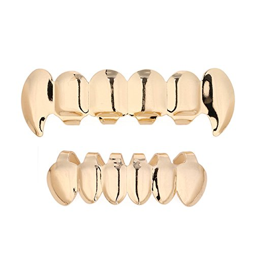 [Million Dollar Smile - Costume Vampire Teeth Fangs Gangsta Grillz Set Hip-Hop Fashion Slugs Golden Teeth Dental Pullouts Swag Out Jewelry for Men Women Unisex Teens by DMZing (Gold)] (Gold Grill Costume)
