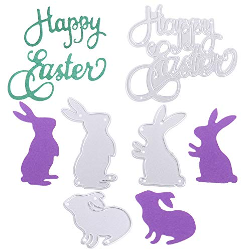 AOPOO Happy Easter Letter Cutting Dies and Bunny Rabbit Embossing Stencil Metal Template for Easter Party DIY Craft Home Decor, 4 Pieces