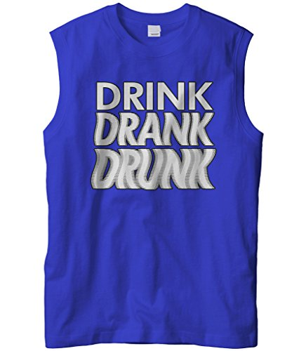 Cybertela Men's Drink Drank Drunk Sleeveless T-Shirt (Royal, ()