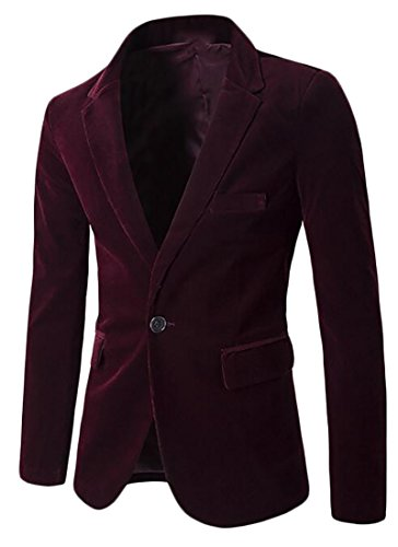 Blazer Jacket Red UK Corduroy Long Sleeve today Wine Fit Mens Slim n0vUqxwP8