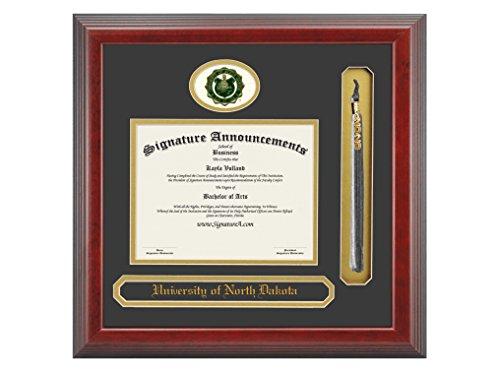 Signature Announcements University of North Dakota (UND) Undergraduate and Graduate Graduation Diploma Frame with Sculpted Foil Seal, Name & Tassel (Cherry, 16 x 16)