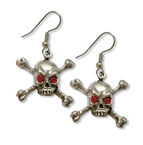 Gothic Skull and Crossbone Dangle Earrings with Red Austrian Crystal Eyes Skull Crossbones Dangle