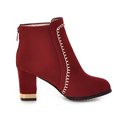 Red AgooLar Zipper Heels Imitated Boots Round Suede Solid High Toe Women's qx6Uprqwv