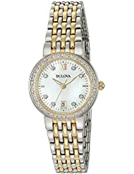 Bulova Womens Quartz Stainless Steel Casual Watch, Color:Two Tone (Model: 98R211)