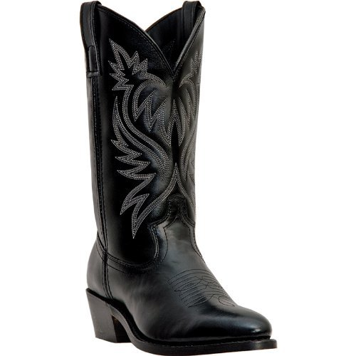 Cowboy Boots Tip Boot (Laredo Mens London Rnd Toe 12in Boots 10.5EE Black)