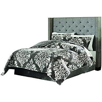 Lenox C1512050 SCQ AST Velvet Plush Comforter Set Damask F/Q,Grey