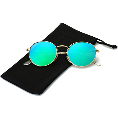 LKEYE Small Unisex Classic Vintage Round Mirror Lens Polarized Sunglasses LK1702 3447 Gold Frame/Green Lens (Best Polarized Sunglasses 2019)
