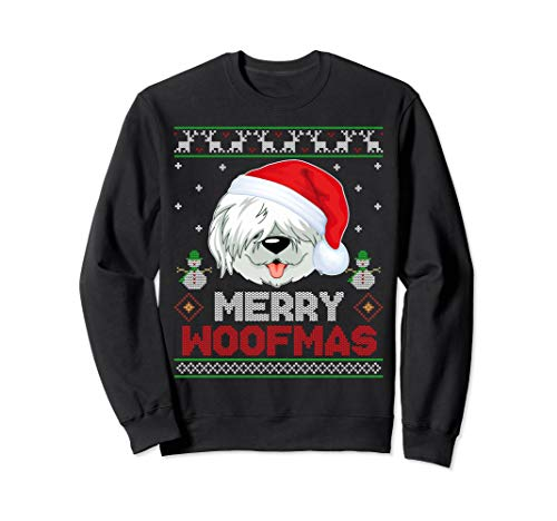 (Old English Sheepdog Santa Hat Christmas Ugly Sweatshirt)
