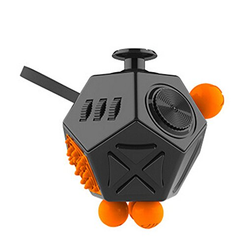 Meishatong Fidget Dice II 12 Sides Stress Anxiety Relief Toy (Black)