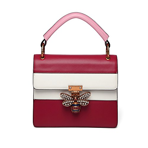 Lock Buckle Color Casual Slung Wild Square Shoulder C Bag Pearl Leather Shopping Hit Bag Small WUHX Bag Fashion Dating Bee WvYwn8fqnz
