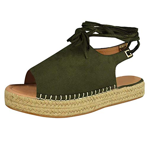 (Hot Summer Women Fashion Ankle Strap Thick Bottom Sandals Large Size Platform Retro Peep Toe Sandals US:5-9 (Green, 7))