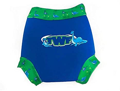TWF Swim Nappy Cover Reusable Washable Neoprene Nappy (12-18m, Happy Sea Dinosaur)