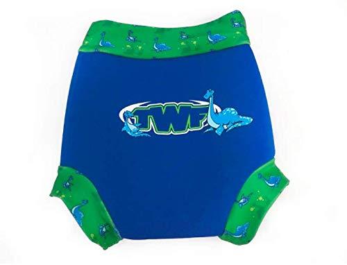 TWF Swim Nappy Cover Reusable Washable Neoprene Nappy (12-18m, Happy Sea Dinosaur)