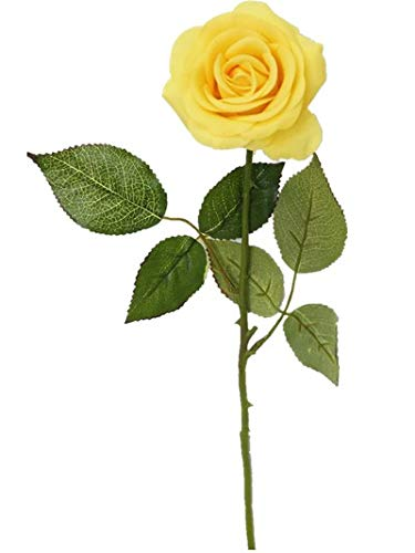 Yellow Artificial Spray - Sweet Home Deco 17'' Real Touch Rose Artificial Single Spray Set of 2 (Yellow)