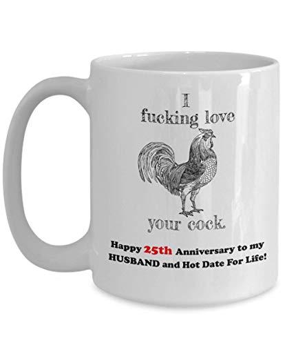 Sexy 25th Wedding Anniversary Gift Mug Naughty Dirty Funny Idea for Him Men Husband EFFING LOVE C 25 Year Yr Aniversary -